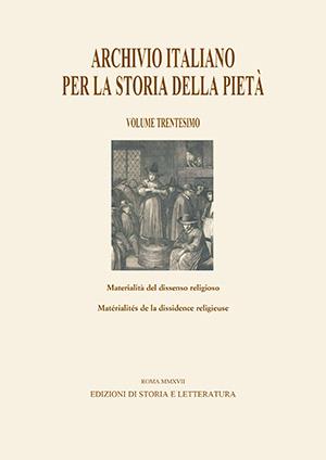 copertina di Archivio italiano per la storia della pietà, XXX
