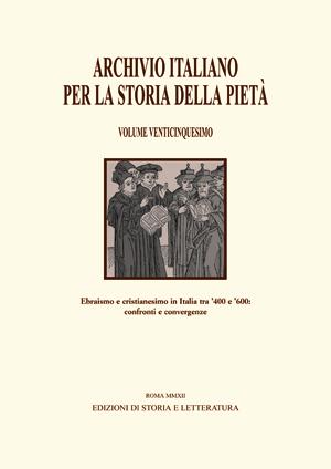 copertina di Archivio italiano per la storia della pietà, XXV