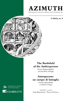 copertina di The Battlefield of the Anthropocene. Limits, Responsibilities and the Duty of Flight /  Antropocene: un campo di battaglia. Limiti, responsabilità e il dovere di fuga
