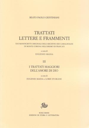 copertina di Trattati, lettere e frammenti dai manoscritti originali dell'Archivio dei Camaldolesi di Monte Corona nell'Eremo di Frascati, vol. III