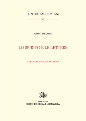 copertina di Lo spirito e le lettere. I