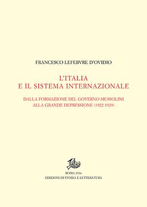 copertina di L'Italia e il sistema internazionale