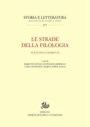 copertina di Le strade della filologia
