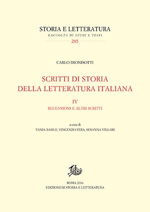 copertina di Scritti di storia della letteratura italiana. IV