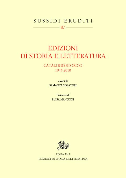 copertina di Edizioni di Storia e Letteratura