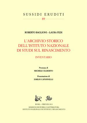 copertina di L'Archivio storico dell'Istituto Nazionale di Studi sul Rinascimento