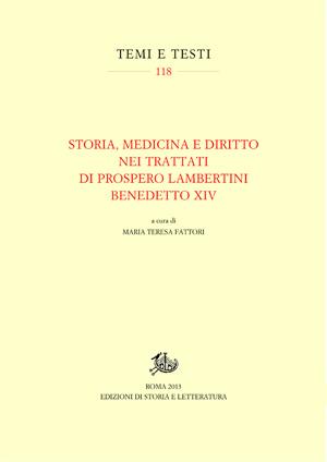 copertina di Storia, medicina e diritto nei trattati di Prospero Lambertini Benedetto XIV