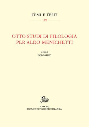 copertina di Otto studi di filologia per Aldo Menichetti