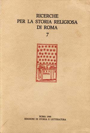 copertina di Ricerche per la storia religiosa di Roma 7