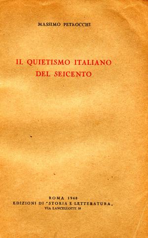 copertina di Il quietismo italiano del Seicento