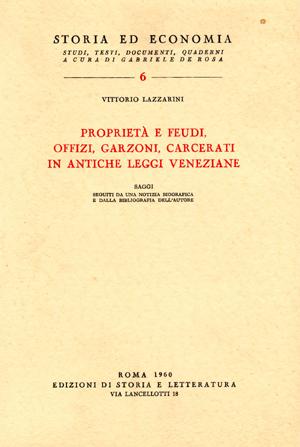 copertina di Proprietà e feudi, offizi, garzoni, carcerati in antiche leggi veneziane