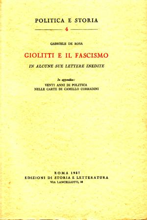copertina di Giolitti e il Fascismo in alcune sue lettere inedite