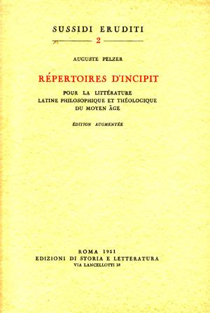 copertina di Répertoires d'incipit pour la littérature latine philosophique et théologique du Moyen Age