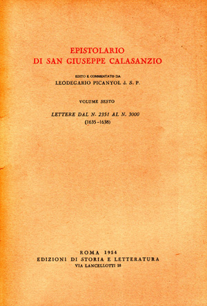 copertina di Epistolario di san Giuseppe Calasanzio. VI