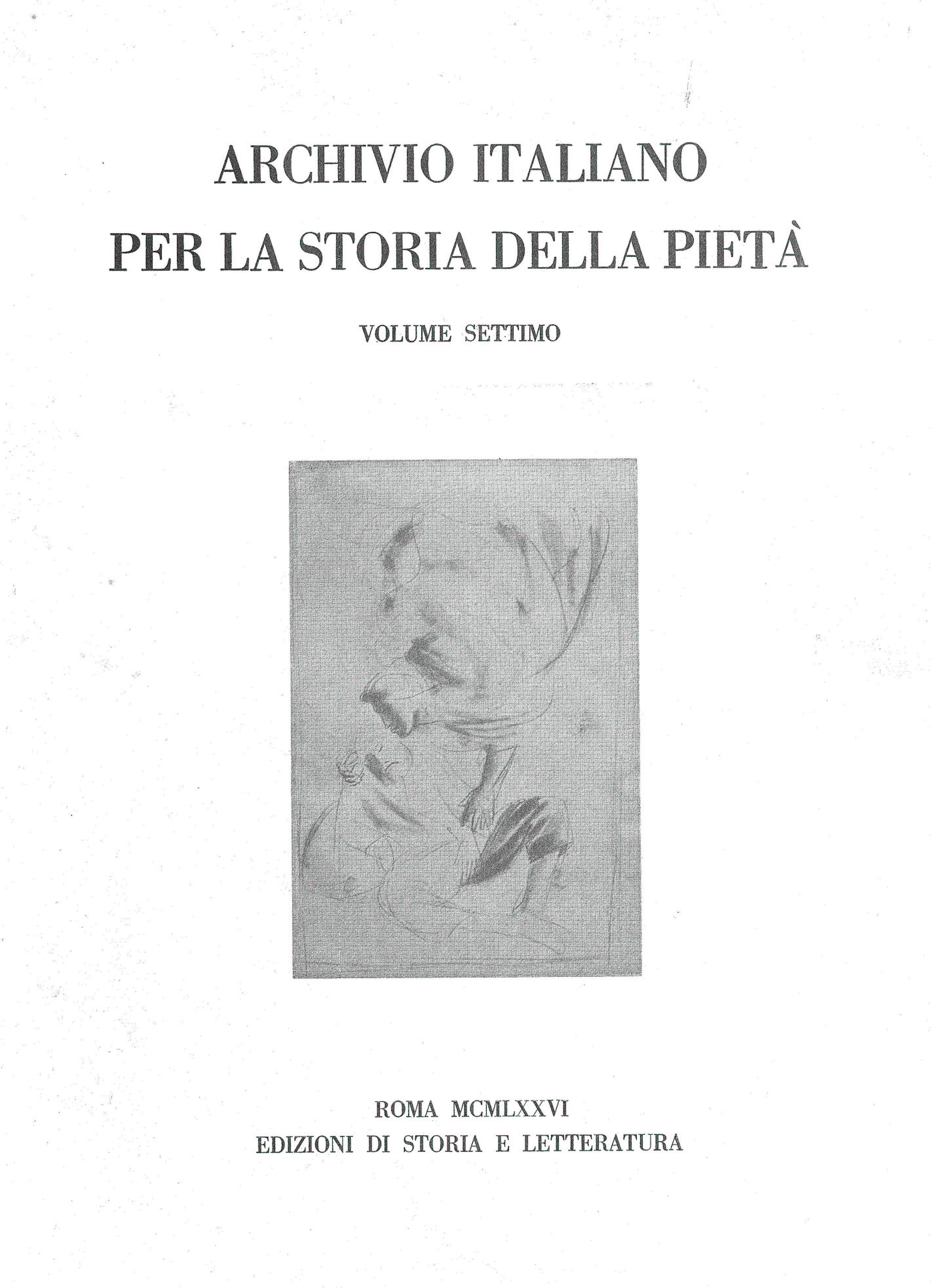 copertina di Archivio italiano per la storia della pietà, vii