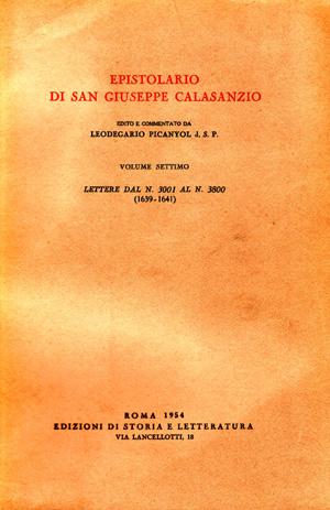 copertina di Epistolario di san Giuseppe Calasanzio. VII