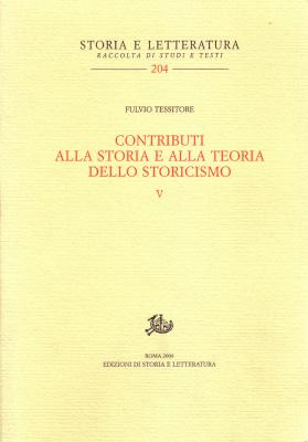 copertina di Contributi alla storia e alla teoria dello storicismo. V