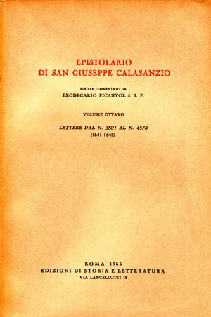 copertina di Epistolario di san Giuseppe Calasanzio. VIII