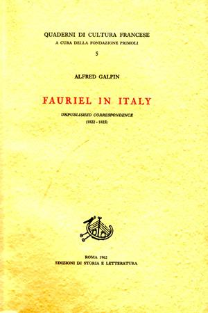 copertina di Fauriel in Italy