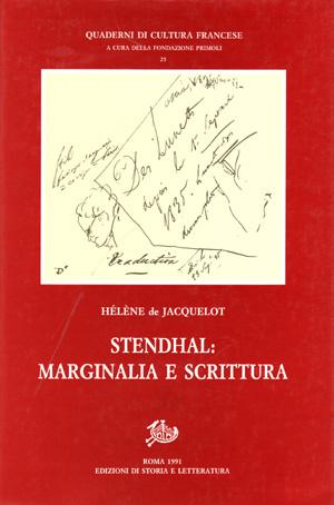 copertina di Stendhal: marginalia e scrittura