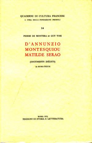 copertina di D'Annunzio, Montesquiou, Matilde Serao