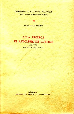 copertina di Alla ricerca di Astolphe de Custine