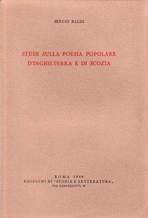 copertina di Studi sulla poesia popolare d'Inghilterra e di Scozia