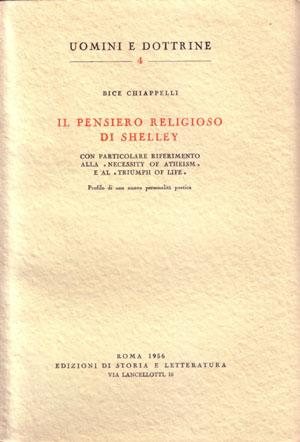 copertina di Il pensiero religioso di Shelley, con particolare riferimento alla «Necessity of Atheism» e al «Triumph of Life»