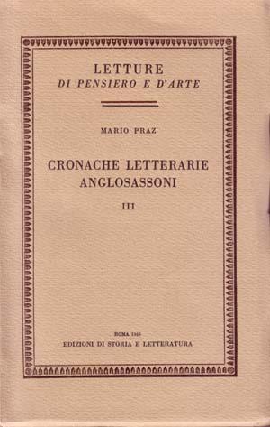 copertina di Cronache letterarie anglosassoni. III