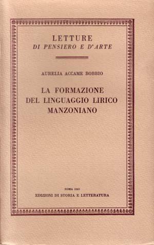 copertina di La formazione del linguaggio lirico manzoniano