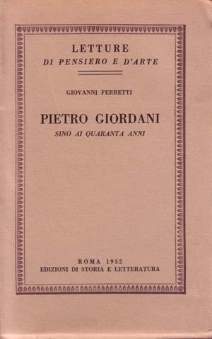 copertina di Pietro Giordani sino ai quaranta anni