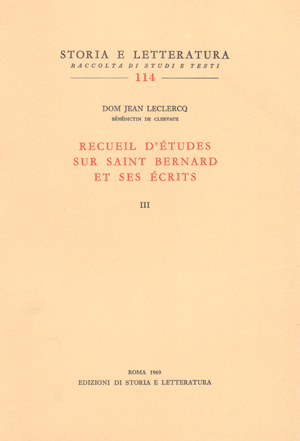 copertina di Recueil d'études sur saint Bernard et ses écrits, vol. III
