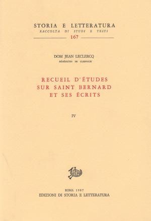 copertina di Recueil d'études sur saint Bernard et ses écrits, vol. IV