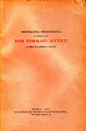 copertina di Miscellanea bibliografica in memoria di don Tommaso Accurti