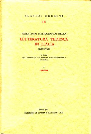 copertina di Repertorio bibliografico della letteratura tedesca in Italia (1900-1965), I