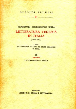copertina di Repertorio bibliografico della letteratura tedesca in Italia (1900-1965), II