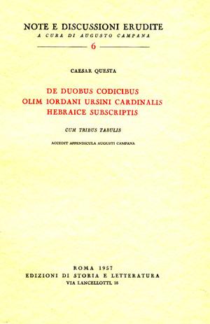 copertina di De duobus codicibus olim Iordani Ursini cardinalis hebraice subscriptis