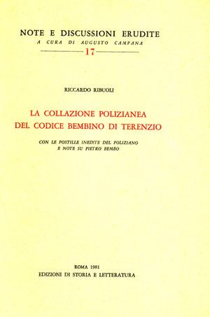 copertina di La collazione polizianea del codice Bembino di Terenzio
