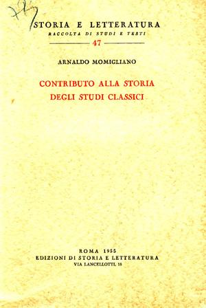 copertina di Contributo alla storia degli studi classici