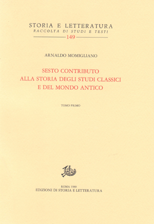 copertina di Sesto contributo alla storia degli studi classici e del mondo antico
