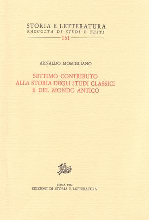 copertina di Settimo contributo alla storia degli studi classici e del mondo antico