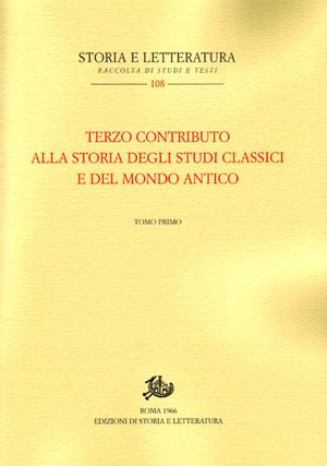 copertina di Terzo contributo alla storia degli studi classici e del mondo antico
