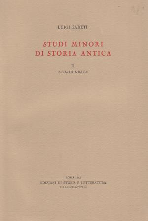 copertina di Studi minori di storia antica. II