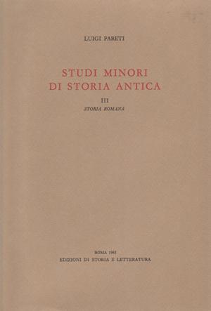 copertina di Studi minori di storia antica. III