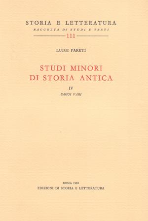 copertina di Studi minori di storia antica. IV