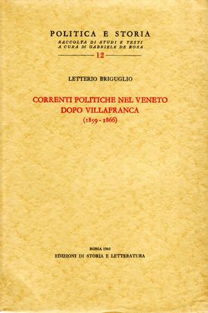 copertina di Correnti politiche nel Veneto dopo Villafranca (1859-1866)