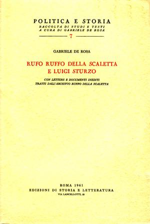 copertina di Rufo Ruffo della Scaletta e Luigi Sturzo