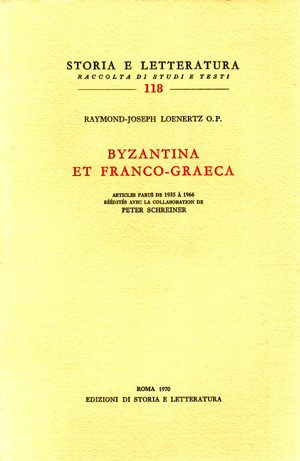 copertina di Byzantina et Franco-Graeca