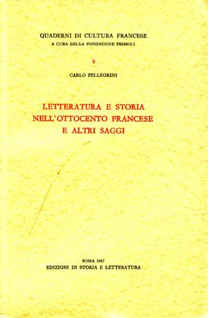 copertina di Letteratura e storia nell'Ottocento francese e altri saggi