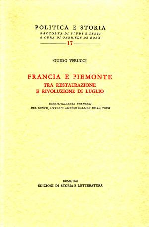 copertina di Francia e Piemonte tra restaurazione e rivoluzione di luglio